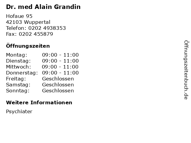 Dr. med Alain Grandin in Wuppertal: Adresse und Öffnungszeiten