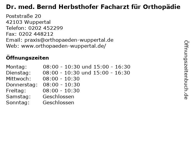 Dr. med. Bernd Herbsthofer & Monika Urbaniak in Wuppertal: Adresse und Öffnungszeiten