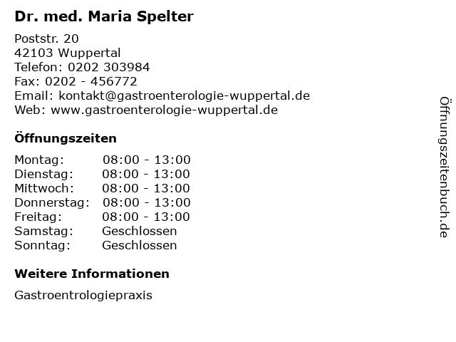 Dr. med. Maria Spelter in Wuppertal: Adresse und Öffnungszeiten