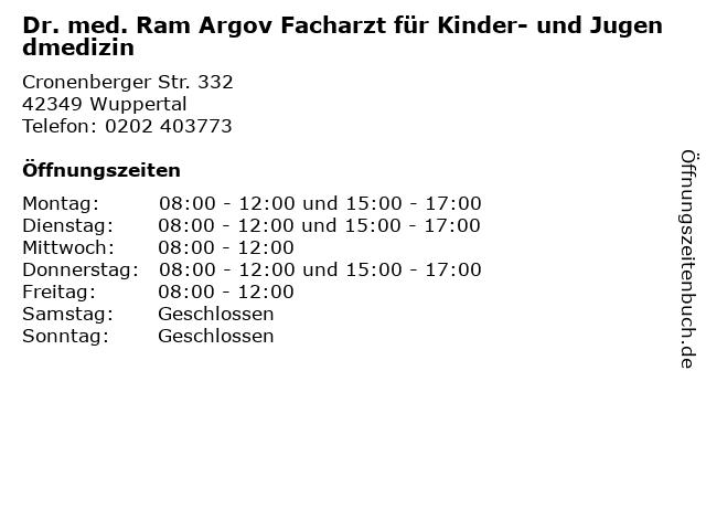 Dr. med. Ram Argov Facharzt für Kinder- und Jugendmedizin in Wuppertal: Adresse und Öffnungszeiten