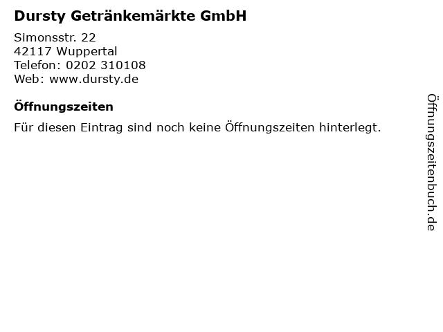 Dursty Getränkemärkte GmbH in Wuppertal: Adresse und Öffnungszeiten