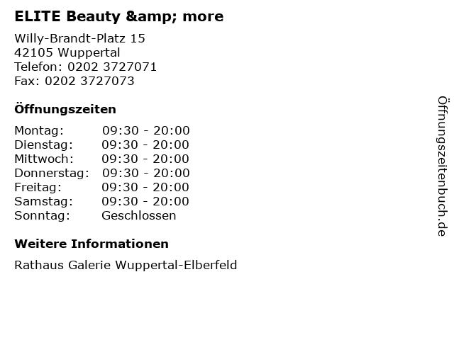 ELITE Beauty & more in Wuppertal: Adresse und Öffnungszeiten