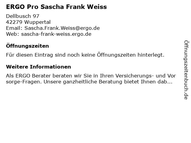 ERGO Pro Sascha Frank Weiss in Wuppertal: Adresse und Öffnungszeiten