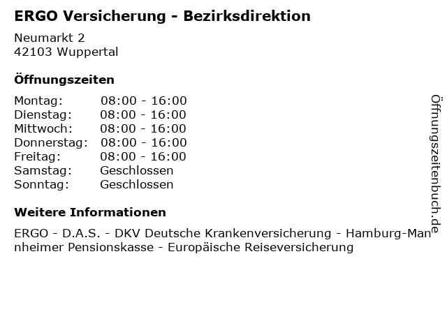 ERGO Versicherung - Bezirksdirektion in Wuppertal: Adresse und Öffnungszeiten