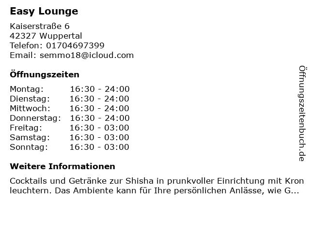 Easy Lounge in Wuppertal: Adresse und Öffnungszeiten