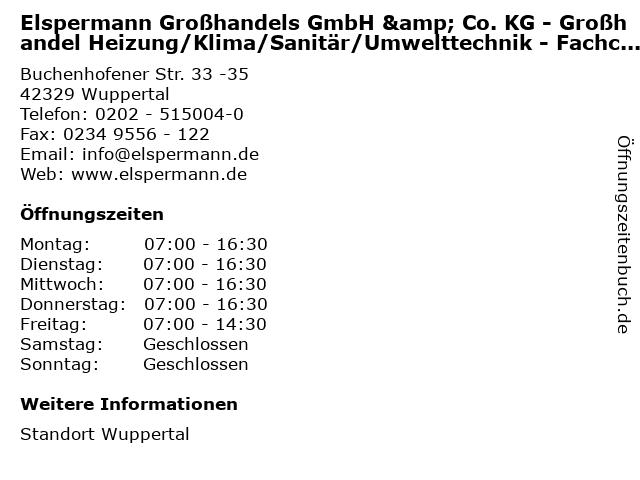 Elspermann Großhandels GmbH & Co. KG - Großhandel Heizung/Klima/Sanitär/Umwelttechnik - Fachcenter in Wuppertal: Adresse und Öffnungszeiten