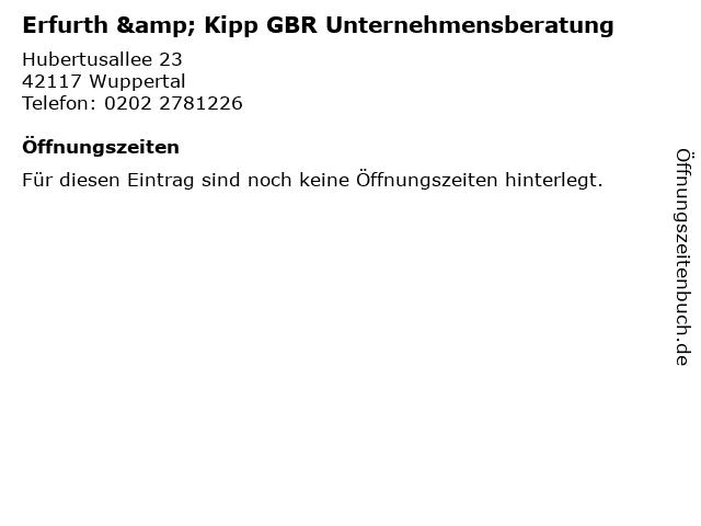 Erfurth & Kipp GBR Unternehmensberatung in Wuppertal: Adresse und Öffnungszeiten
