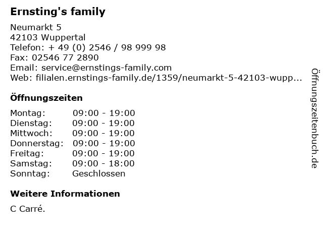 Ernsting's family GmbH & Co. KG in Wuppertal: Adresse und Öffnungszeiten