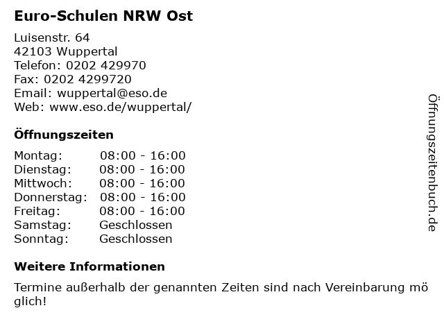 Euro-Schulen NRW Ost in Wuppertal: Adresse und Öffnungszeiten