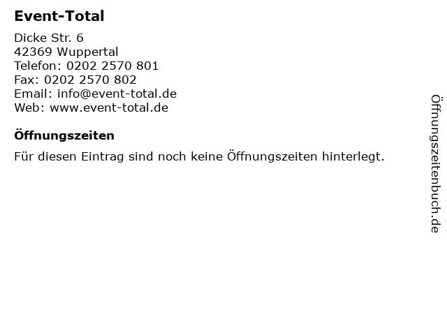 Event-Total in Wuppertal: Adresse und Öffnungszeiten