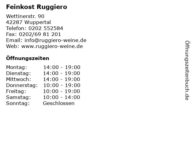 Feinkost Ruggiero in Wuppertal: Adresse und Öffnungszeiten