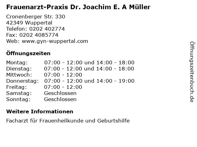 Frauenarzt-Praxis Dr. Joachim E. A Müller in Wuppertal: Adresse und Öffnungszeiten