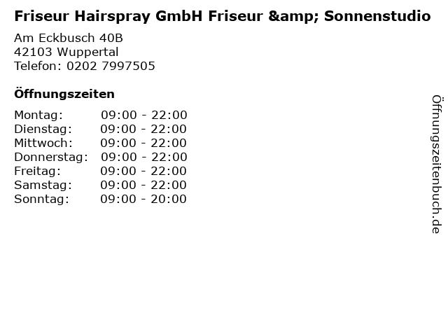 Friseur Hairspray GmbH Friseur & Sonnenstudio in Wuppertal: Adresse und Öffnungszeiten