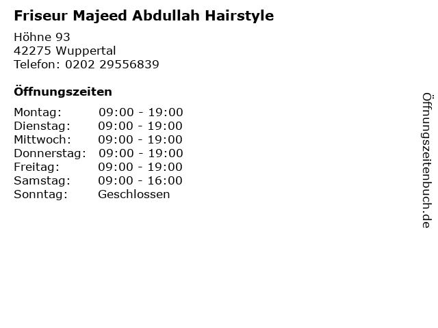 Friseur Majeed Abdullah Hairstyle in Wuppertal: Adresse und Öffnungszeiten
