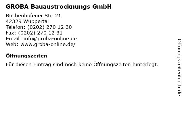 GROBA Bauaustrocknungs GmbH in Wuppertal: Adresse und Öffnungszeiten