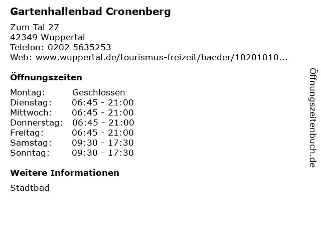 Gartenhallenbad Cronenberg in Wuppertal: Adresse und Öffnungszeiten
