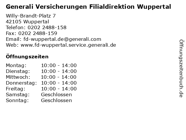 Generali Versicherungen Filialdirektion Wuppertal in Wuppertal: Adresse und Öffnungszeiten