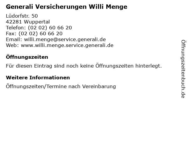 Generali Versicherungen Willi Menge in Wuppertal: Adresse und Öffnungszeiten