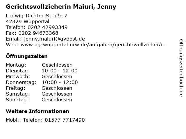 Gerichtsvollzieherin Maiuri, Jenny in Wuppertal: Adresse und Öffnungszeiten