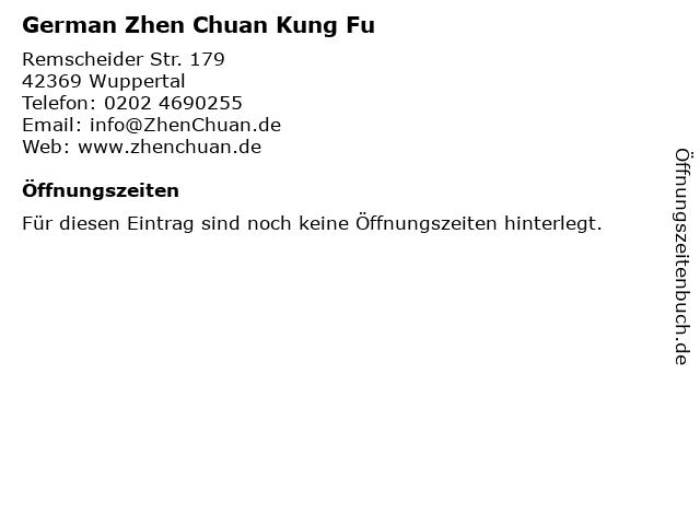 German Zhen Chuan Kung Fu in Wuppertal: Adresse und Öffnungszeiten