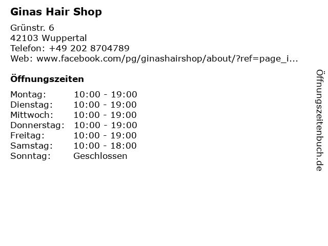 Ginas Hair Shop in Wuppertal: Adresse und Öffnungszeiten