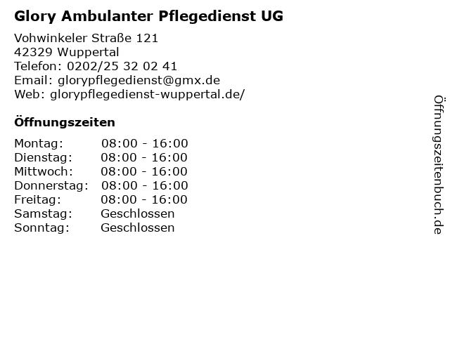 Glory Ambulanter Pflegedienst UG in Wuppertal: Adresse und Öffnungszeiten