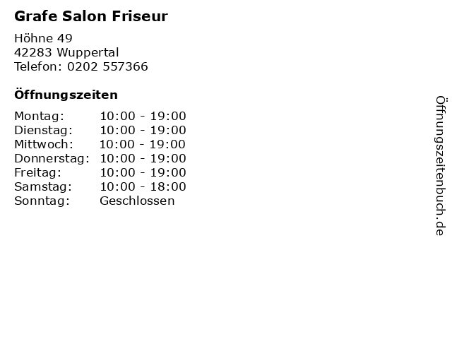 Grafe Salon Friseur in Wuppertal: Adresse und Öffnungszeiten