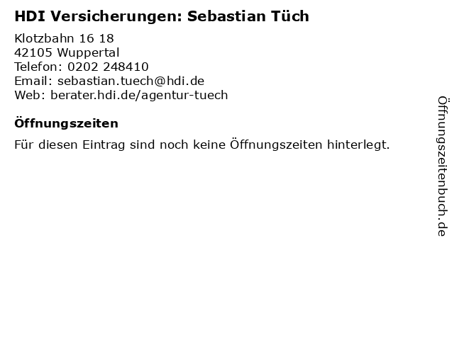 HDI Versicherungen: Sebastian Tüch in Wuppertal: Adresse und Öffnungszeiten