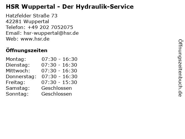 HSR Der Hydraulik-Service in Wuppertal: Adresse und Öffnungszeiten