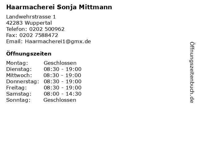 Sonja Mittmann Friseur in Wuppertal: Adresse und Öffnungszeiten
