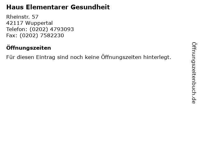 Haus Elementarer Gesundheit in Wuppertal: Adresse und Öffnungszeiten