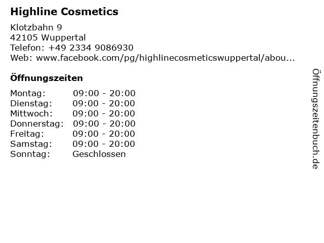 Highline Cosmetics in Wuppertal: Adresse und Öffnungszeiten
