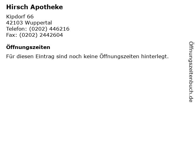 Hirsch Apotheke in Wuppertal: Adresse und Öffnungszeiten