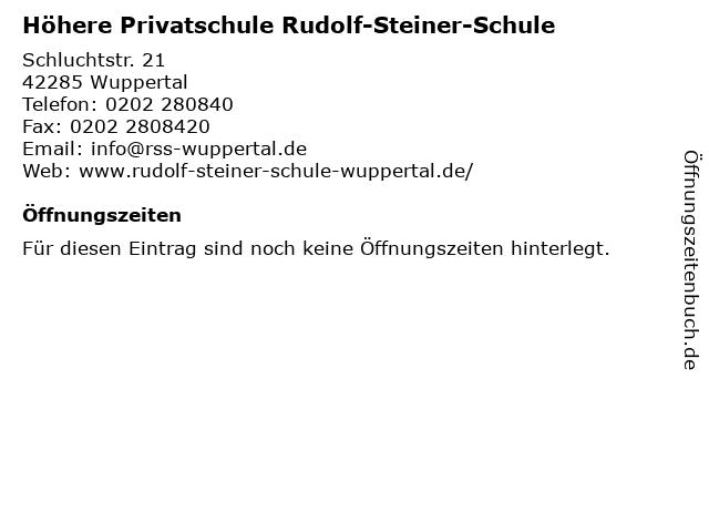 Höhere Privatschule Rudolf-Steiner-Schule in Wuppertal: Adresse und Öffnungszeiten