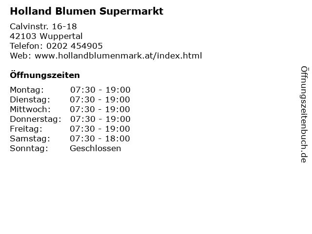 Holland Blumen Supermarkt in Wuppertal: Adresse und Öffnungszeiten