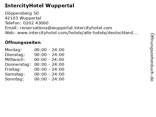IntercityHotel Wuppertal in Wuppertal: Adresse und Öffnungszeiten