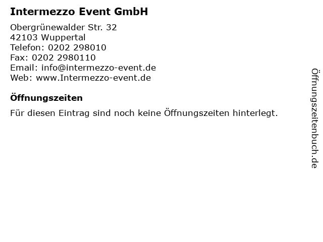 Intermezzo Event GmbH in Wuppertal: Adresse und Öffnungszeiten