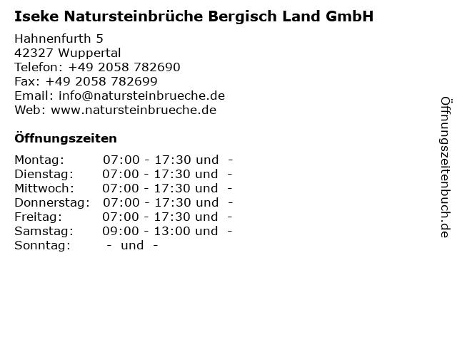 ᐅ öffnungszeiten Iseke Natursteinbrüche Bergisch Land Gmbh