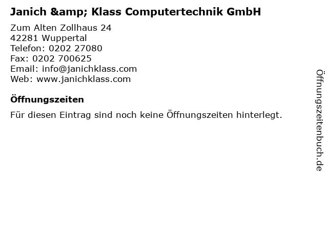 Janich & Klass Computertechnik GmbH in Wuppertal: Adresse und Öffnungszeiten