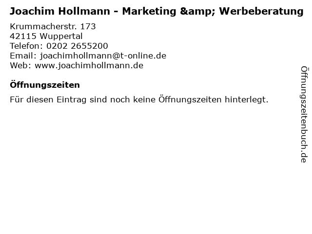 Joachim Hollmann - Marketing & Werbeberatung in Wuppertal: Adresse und Öffnungszeiten