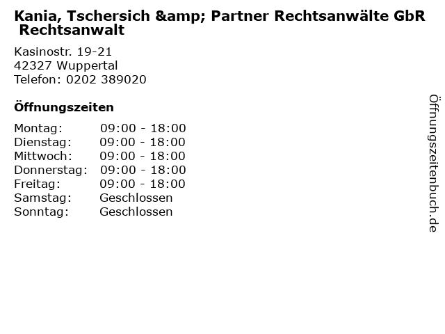 Kania, Tschersich & Partner Rechtsanwälte GbR Rechtsanwalt in Wuppertal: Adresse und Öffnungszeiten