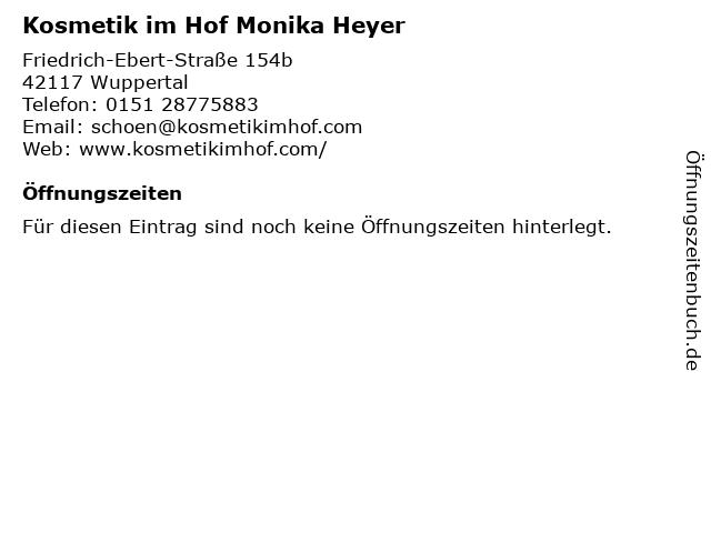 Kosmetik im Hof Monika Heyer in Wuppertal: Adresse und Öffnungszeiten