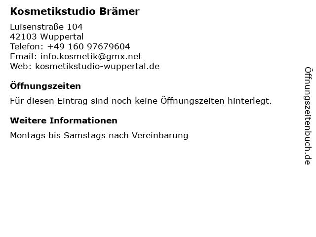 Kosmetikstudio Brämer in Wuppertal: Adresse und Öffnungszeiten