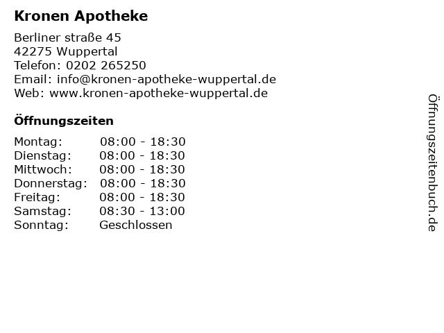 Kronen Apotheke Wuppertal in Wuppertal: Adresse und Öffnungszeiten