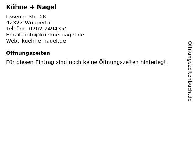 Kühne + Nagel in Wuppertal: Adresse und Öffnungszeiten