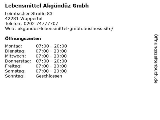 Lebensmittel Akgündüz Gmbh in Wuppertal: Adresse und Öffnungszeiten