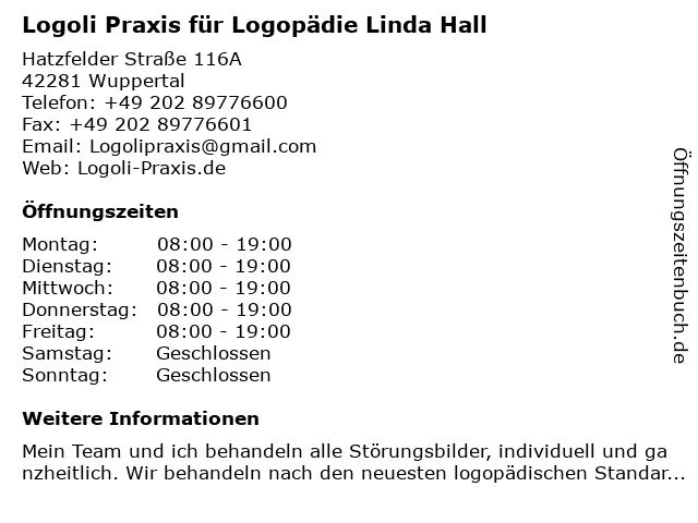 Logoli Praxis für Logopädie Linda Hall in Wuppertal: Adresse und Öffnungszeiten