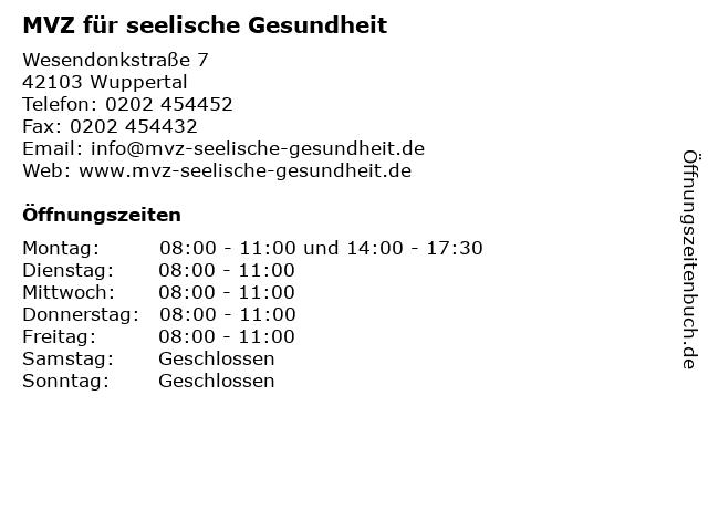 MVZ für seelische Gesundheit in Wuppertal: Adresse und Öffnungszeiten