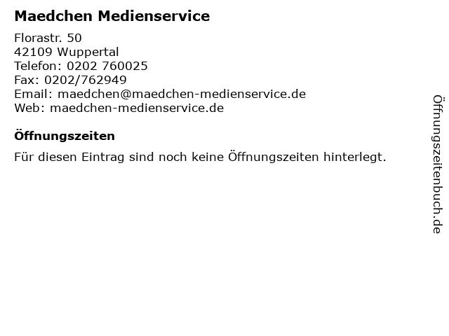 Maedchen Medienservice in Wuppertal: Adresse und Öffnungszeiten