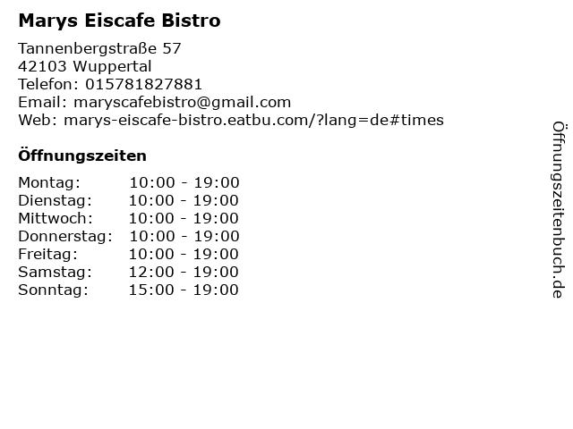 Marys Eiscafe Bistro in Wuppertal: Adresse und Öffnungszeiten
